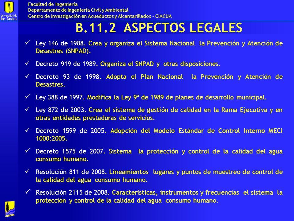 B.11.2 aSPECTOS LEGALES Ley 146 de 1988. Crea y organiza el Sistema Nacional la Prevención y Atención de Desastres (SNPAD).