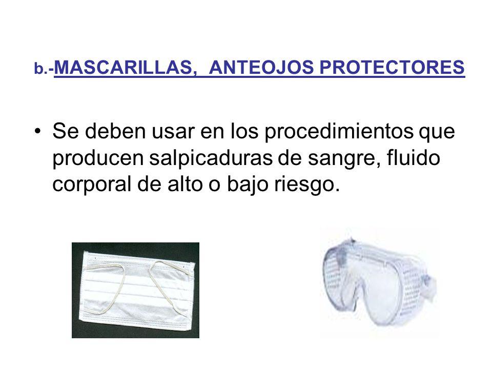 b.-MASCARILLAS, ANTEOJOS PROTECTORES