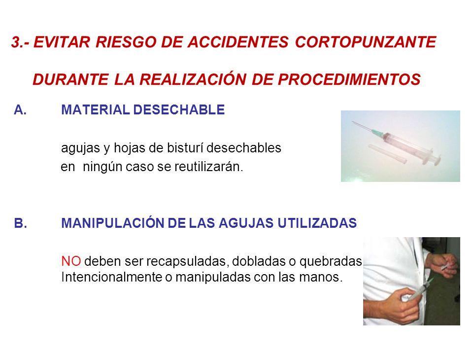 3.- EVITAR RIESGO DE ACCIDENTES CORTOPUNZANTE DURANTE LA REALIZACIÓN DE PROCEDIMIENTOS