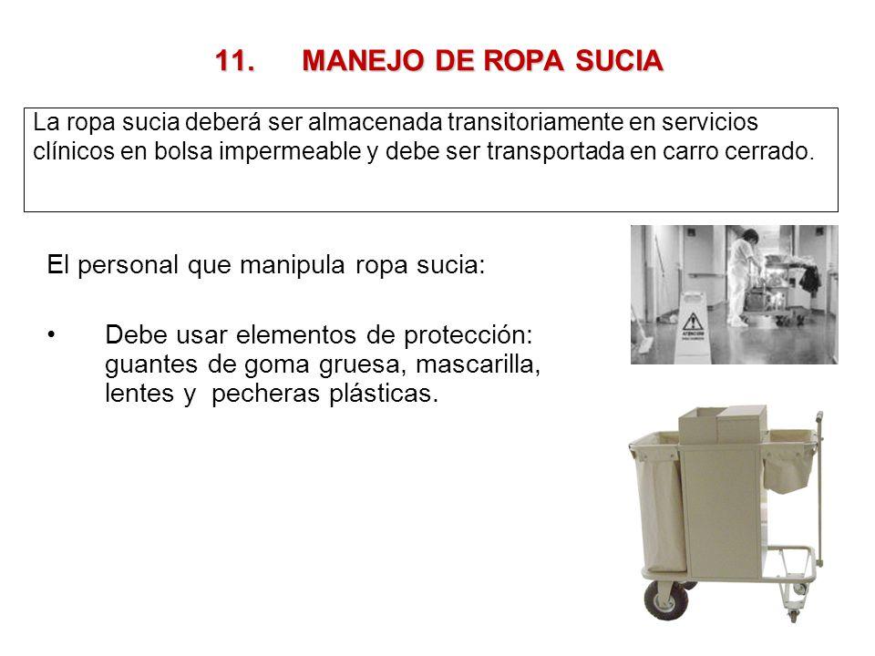 11. MANEJO DE ROPA SUCIA El personal que manipula ropa sucia: