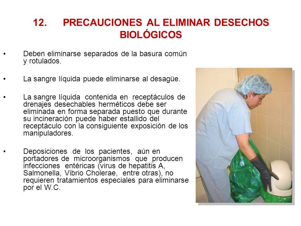 12. PRECAUCIONES AL ELIMINAR DESECHOS BIOLÓGICOS