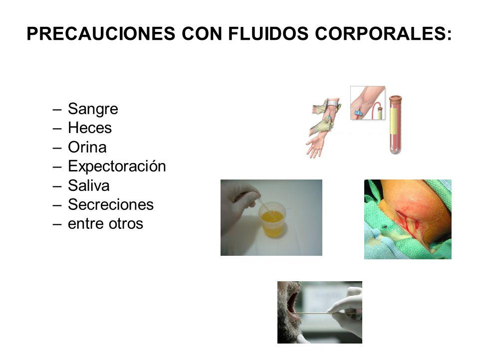 PRECAUCIONES CON FLUIDOS CORPORALES: