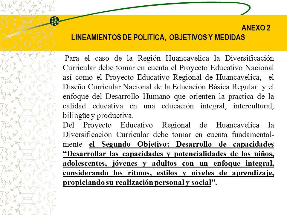 ANEXO 2 LINEAMIENTOS DE POLITICA, OBJETIVOS Y MEDIDAS