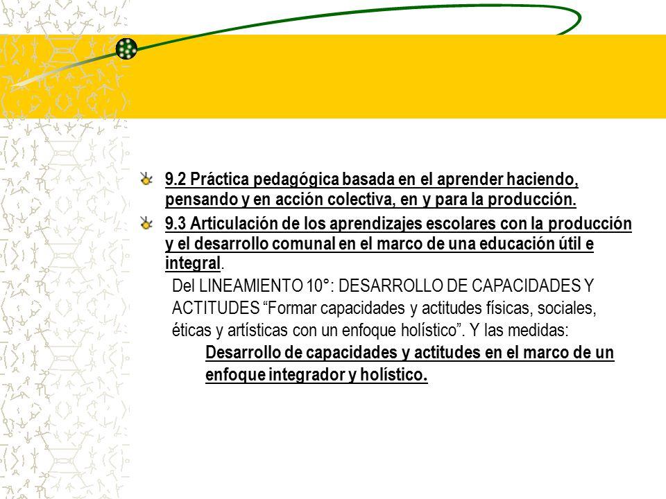 9.2 Práctica pedagógica basada en el aprender haciendo, pensando y en acción colectiva, en y para la producción.