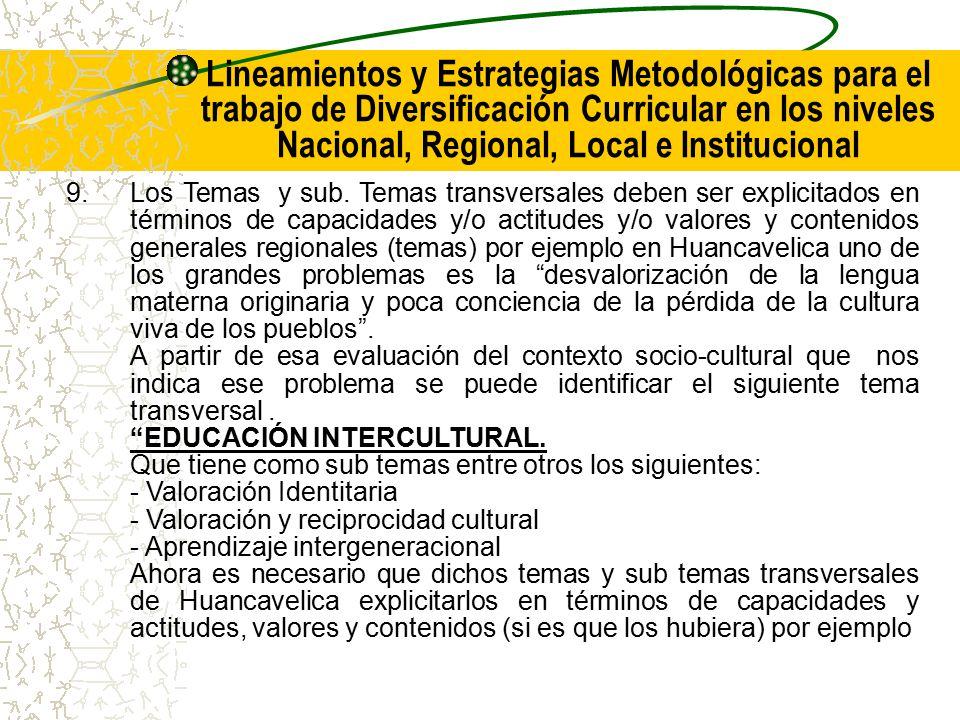 Lineamientos y Estrategias Metodológicas para el trabajo de Diversificación Curricular en los niveles Nacional, Regional, Local e Institucional