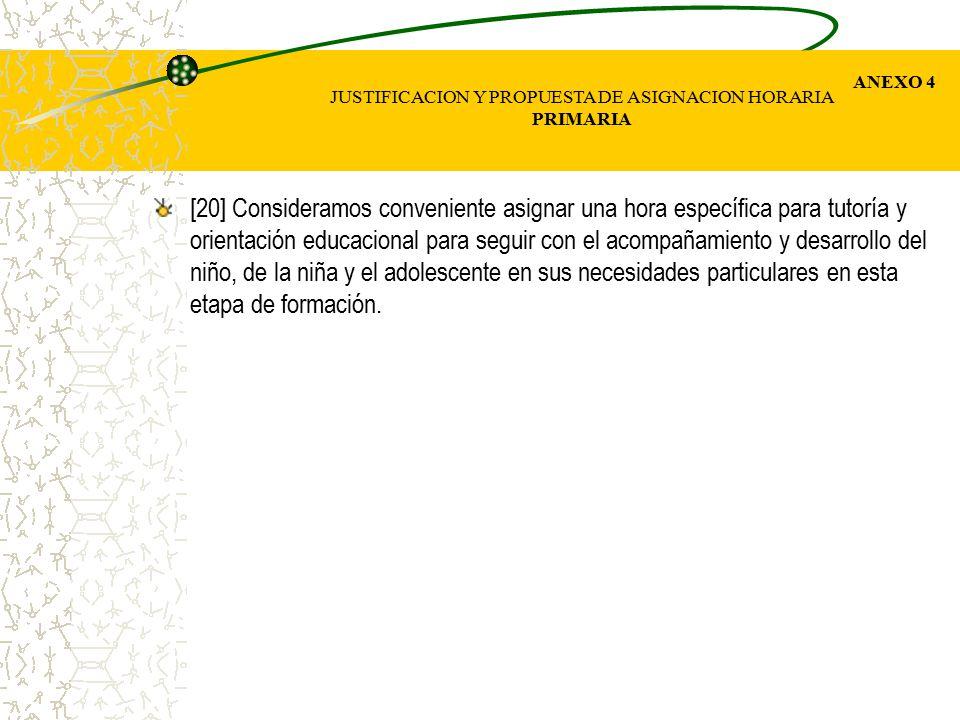 JUSTIFICACION Y PROPUESTA DE ASIGNACION HORARIA