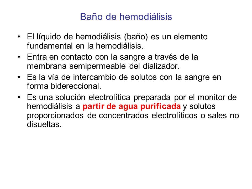 Baño de hemodiálisis El líquido de hemodiálisis (baño) es un elemento fundamental en la hemodiálisis.