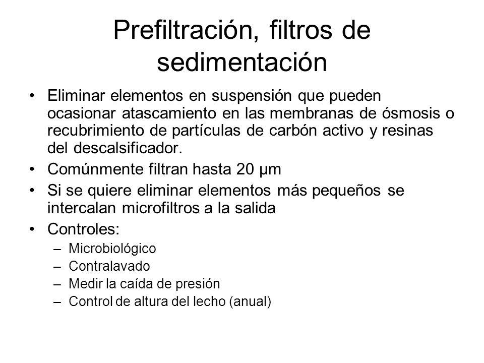 Prefiltración, filtros de sedimentación
