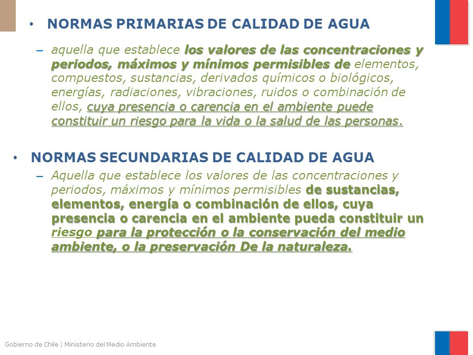 NORMAS PRIMARIAS DE CALIDAD DE AGUA