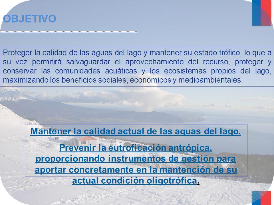 Mantener la calidad actual de las aguas del lago.