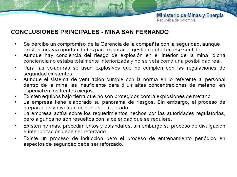 CONCLUSIONES PRINCIPALES - MINA SAN FERNANDO