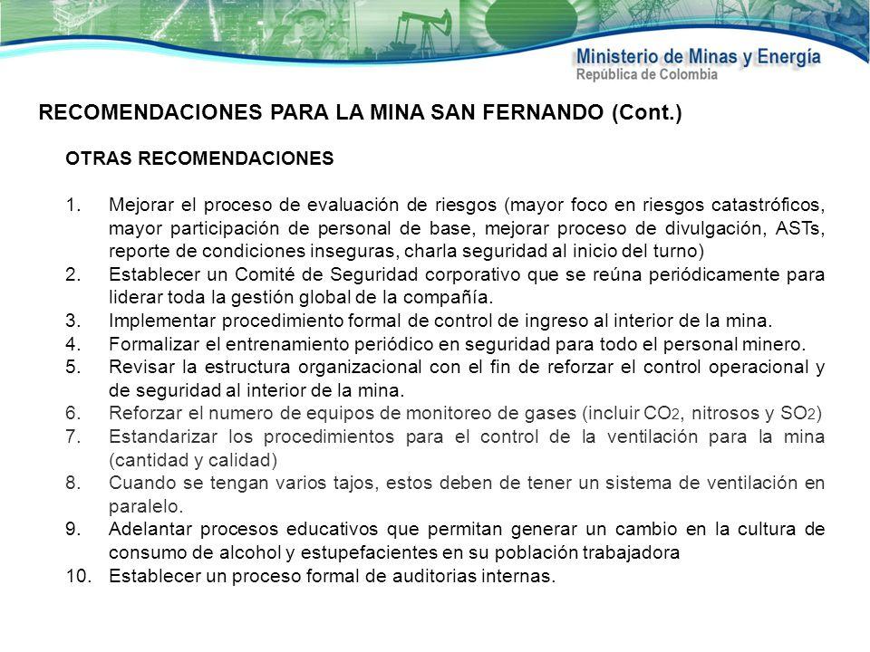 RECOMENDACIONES PARA LA MINA SAN FERNANDO (Cont.)