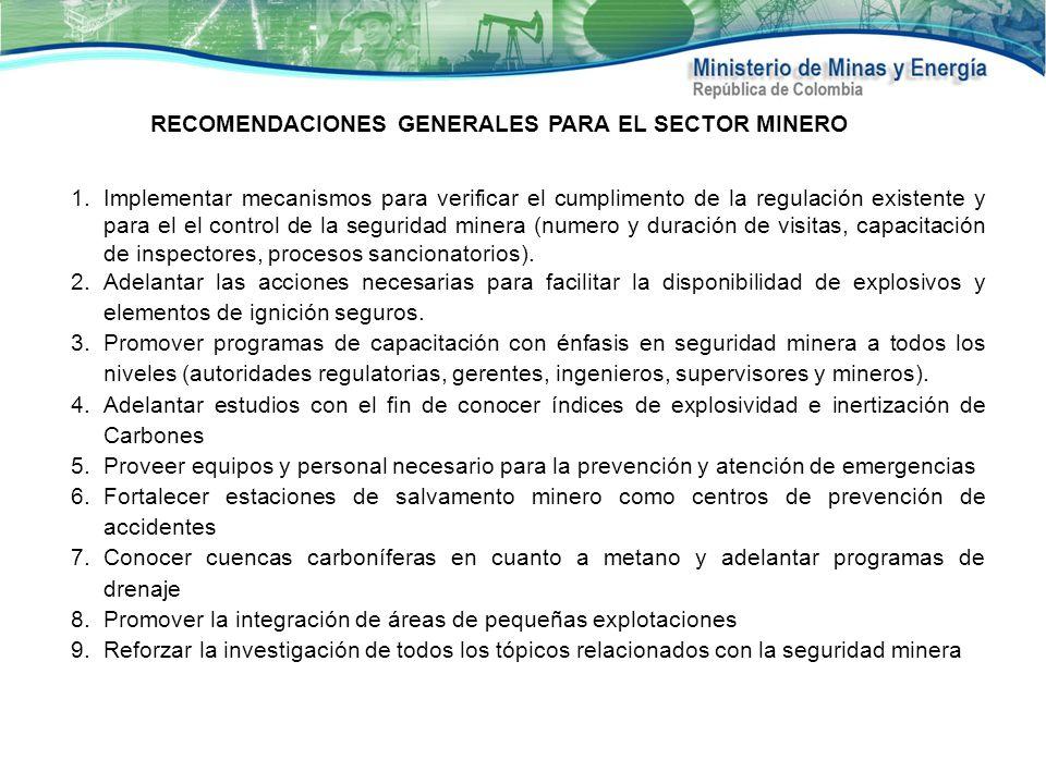 RECOMENDACIONES GENERALES PARA EL SECTOR MINERO