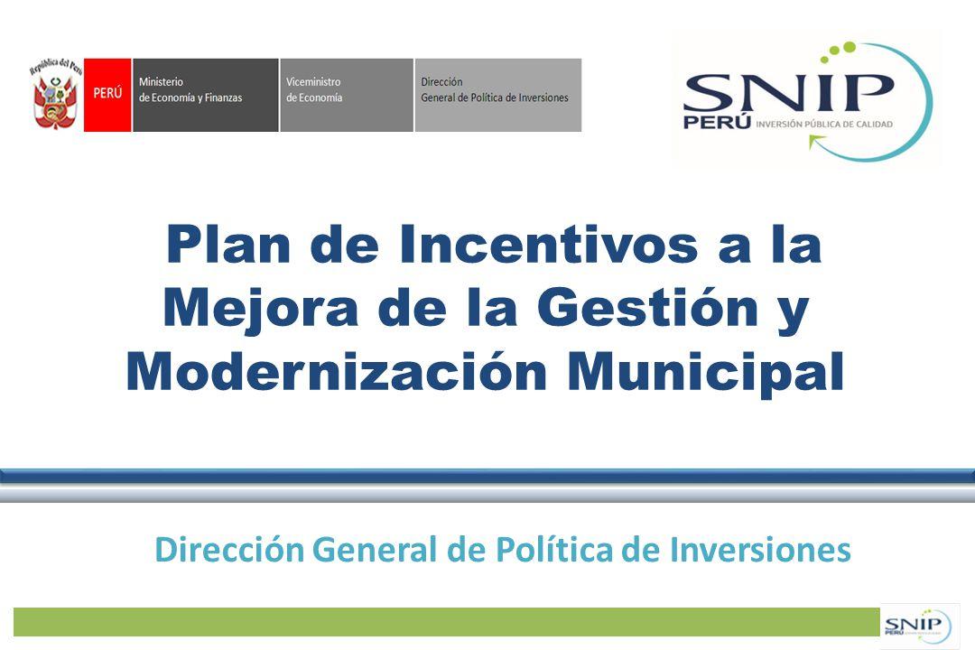 Plan de Incentivos a la Mejora de la Gestión y Modernización Municipal