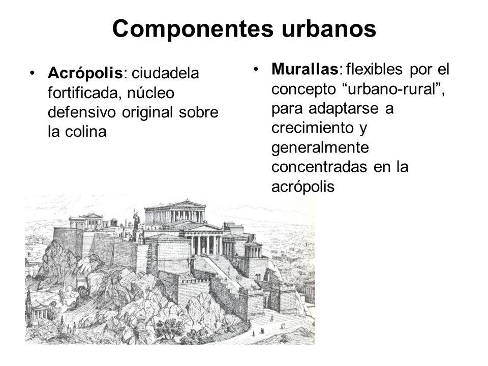 Componentes urbanos Murallas: flexibles por el concepto urbano-rural , para adaptarse a crecimiento y generalmente concentradas en la acrópolis.