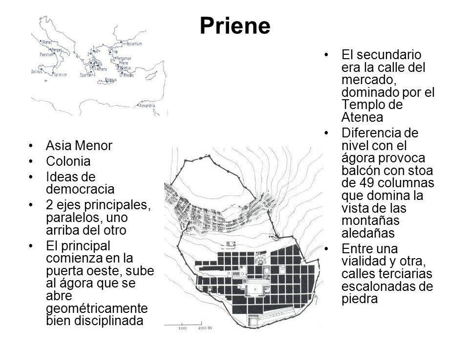 Priene El secundario era la calle del mercado, dominado por el Templo de Atenea.