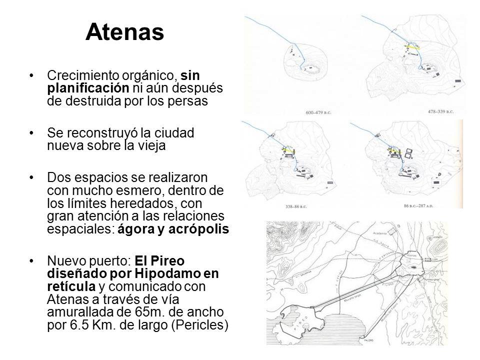 Atenas Crecimiento orgánico, sin planificación ni aún después de destruida por los persas. Se reconstruyó la ciudad nueva sobre la vieja.