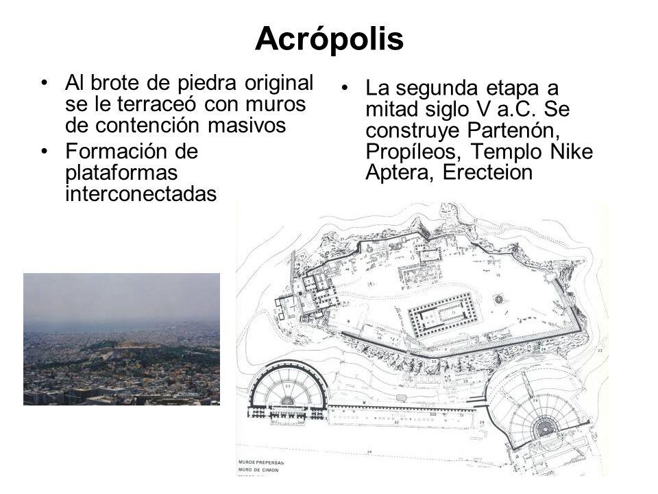 Acrópolis Al brote de piedra original se le terraceó con muros de contención masivos. Formación de plataformas interconectadas.