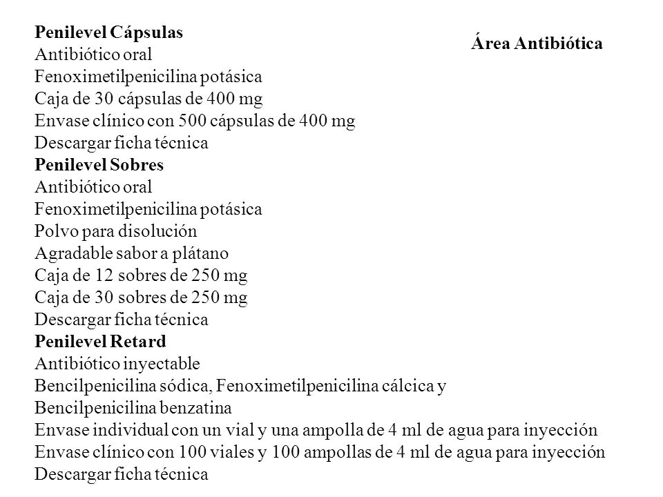 Penilevel Cápsulas Antibiótico oral. Fenoximetilpenicilina potásica. Caja de 30 cápsulas de 400 mg.
