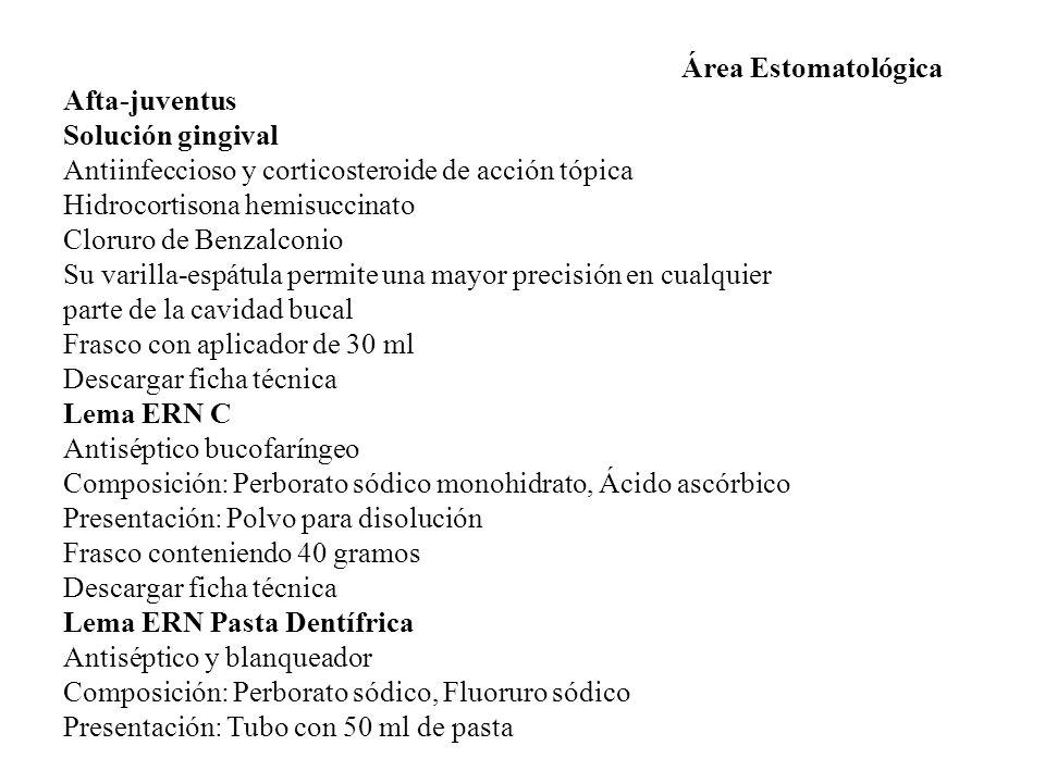 Área Estomatológica Afta-juventus. Solución gingival. Antiinfeccioso y corticosteroide de acción tópica.