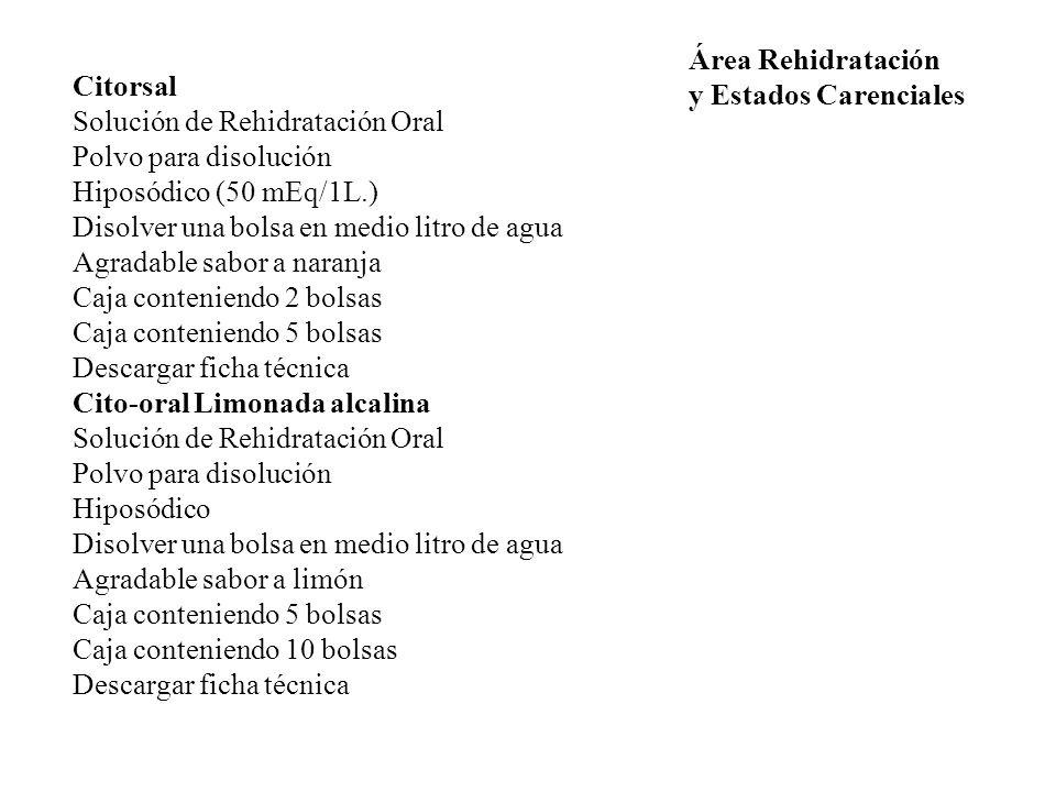 Área Rehidratación y Estados Carenciales. Citorsal. Solución de Rehidratación Oral. Polvo para disolución.