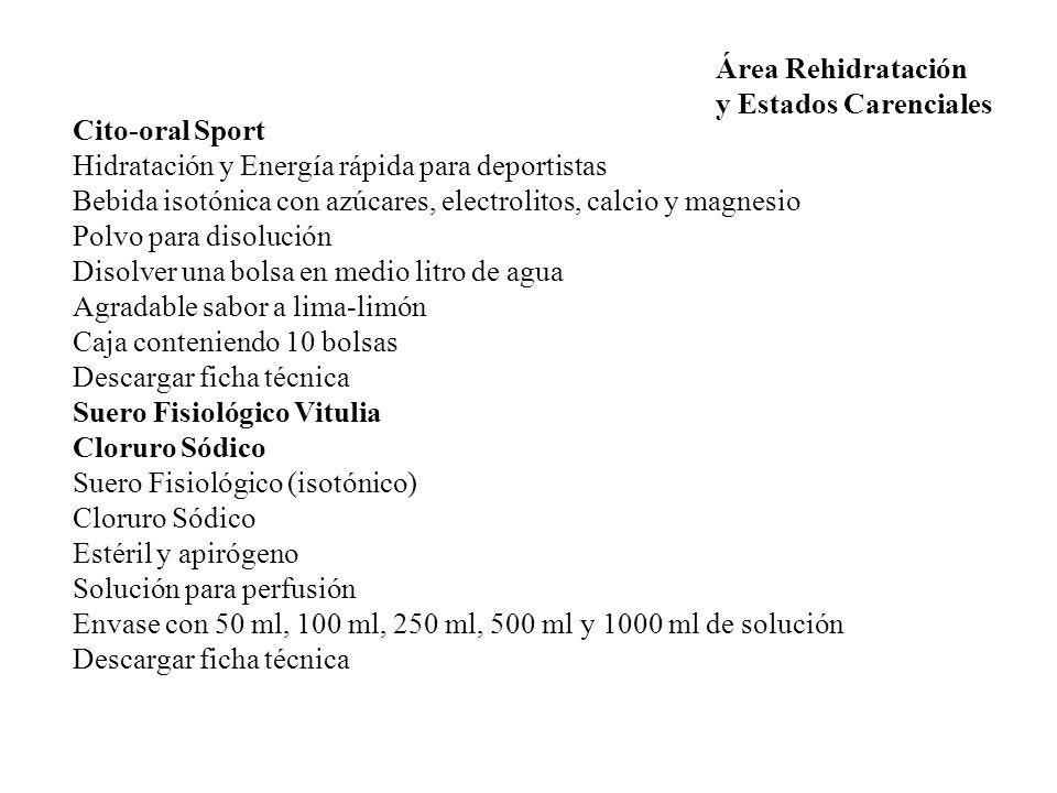 Área Rehidratación y Estados Carenciales. Cito-oral Sport. Hidratación y Energía rápida para deportistas.