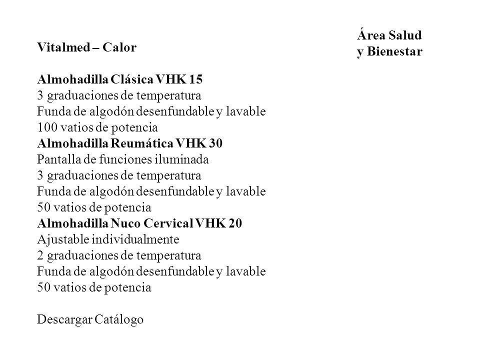 Área Salud y Bienestar. Vitalmed – Calor. Almohadilla Clásica VHK 15. 3 graduaciones de temperatura.