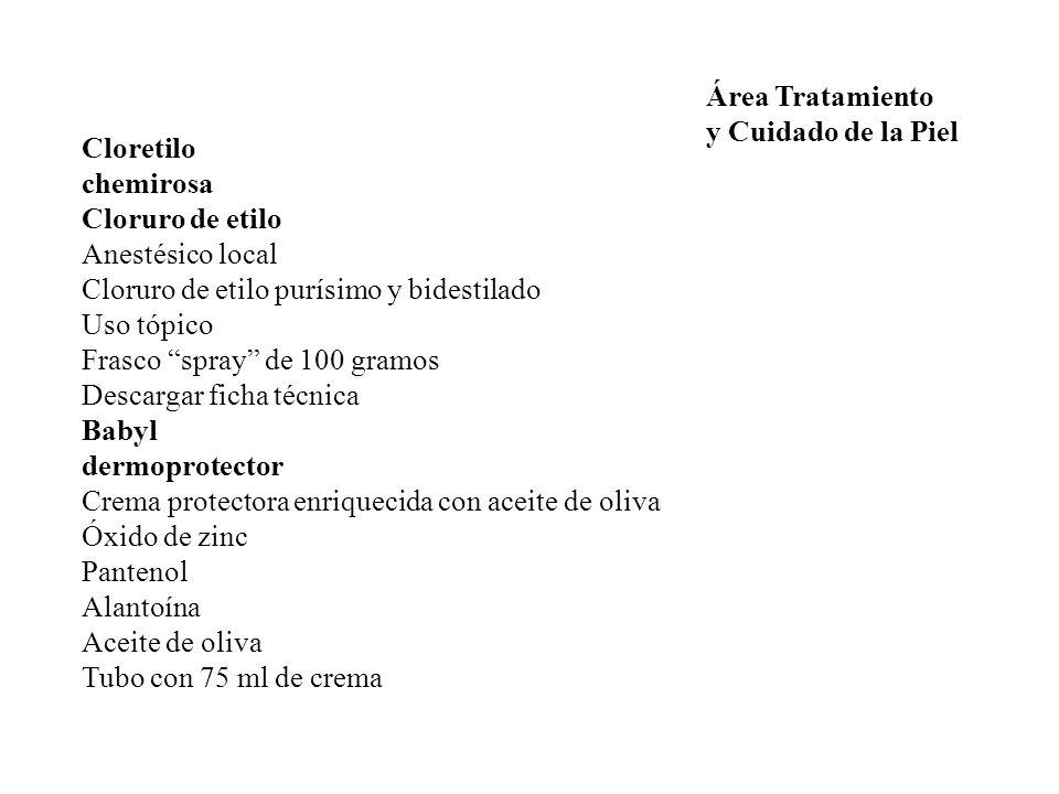 Área Tratamiento y Cuidado de la Piel. Cloretilo. chemirosa. Cloruro de etilo. Anestésico local.