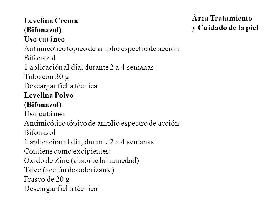 Área Tratamiento y Cuidado de la piel. Levelina Crema. (Bifonazol) Uso cutáneo. Antimicótico tópico de amplio espectro de acción.