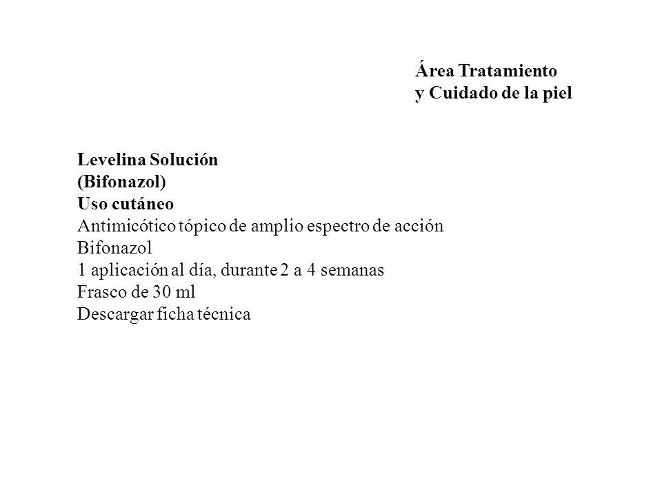 Área Tratamiento y Cuidado de la piel. Levelina Solución. (Bifonazol) Uso cutáneo. Antimicótico tópico de amplio espectro de acción.