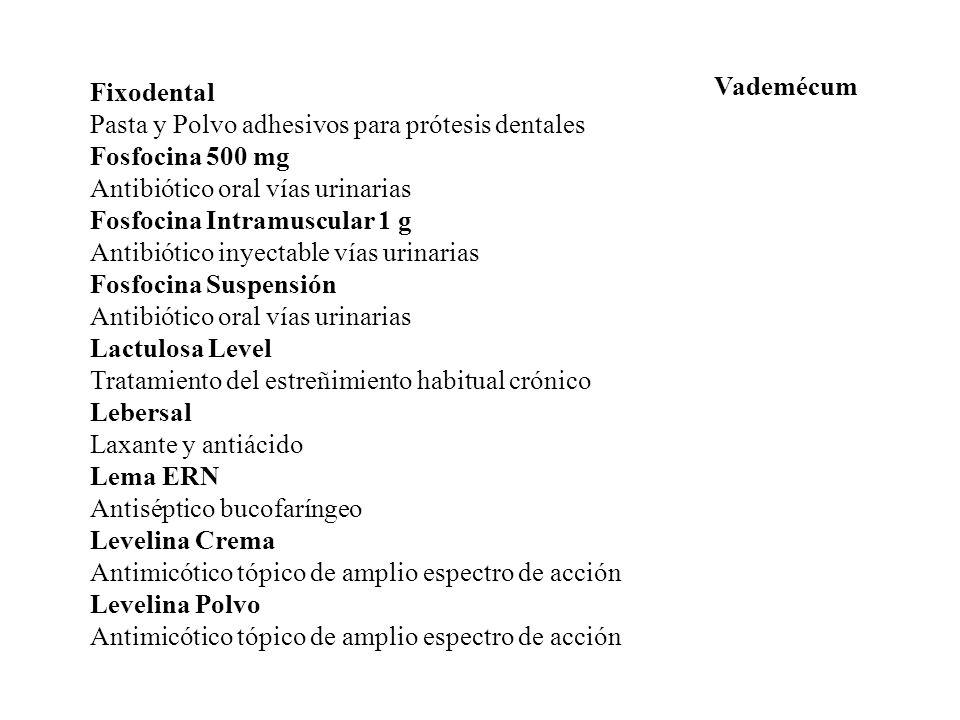 Vademécum Fixodental. Pasta y Polvo adhesivos para prótesis dentales. Fosfocina 500 mg. Antibiótico oral vías urinarias.