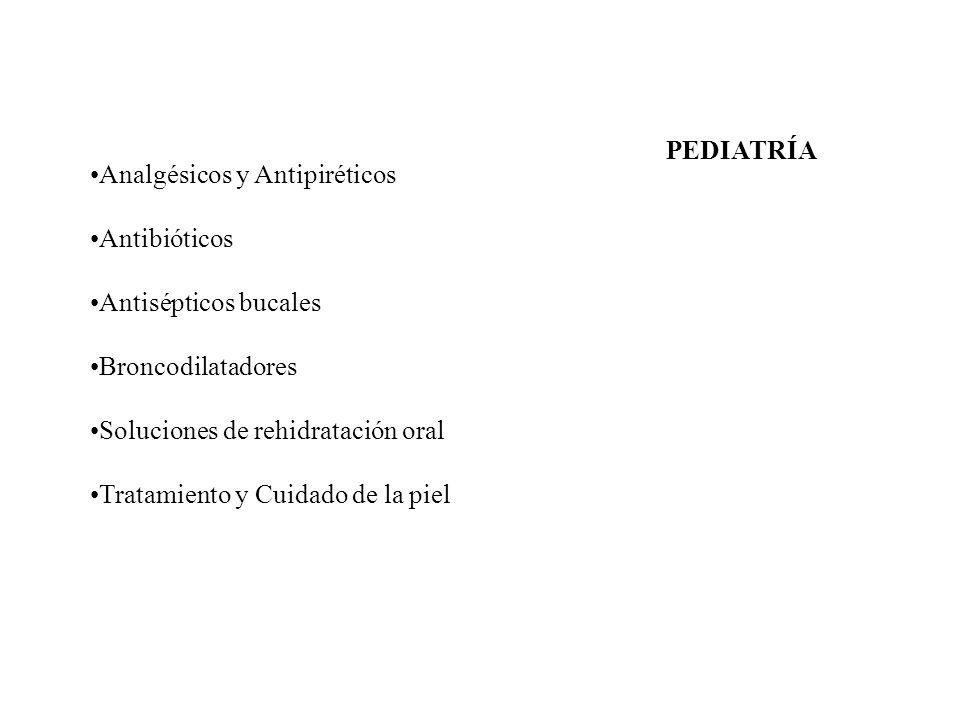 PEDIATRÍA Analgésicos y Antipiréticos. Antibióticos. Antisépticos bucales. Broncodilatadores. Soluciones de rehidratación oral.