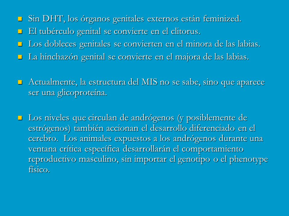 Sin DHT, los órganos genitales externos están feminized.