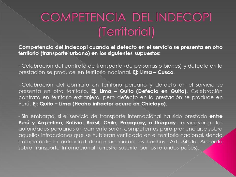 COMPETENCIA DEL INDECOPI (Territorial)
