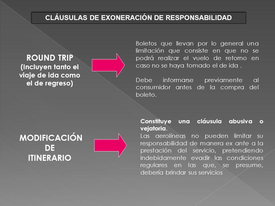 ROUND TRIP MODIFICACIÓN DE ITINERARIO