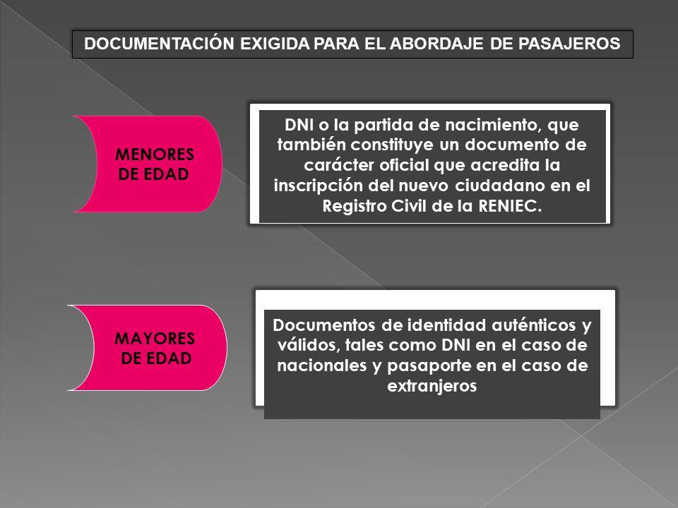 DOCUMENTACIÓN EXIGIDA PARA EL ABORDAJE DE PASAJEROS
