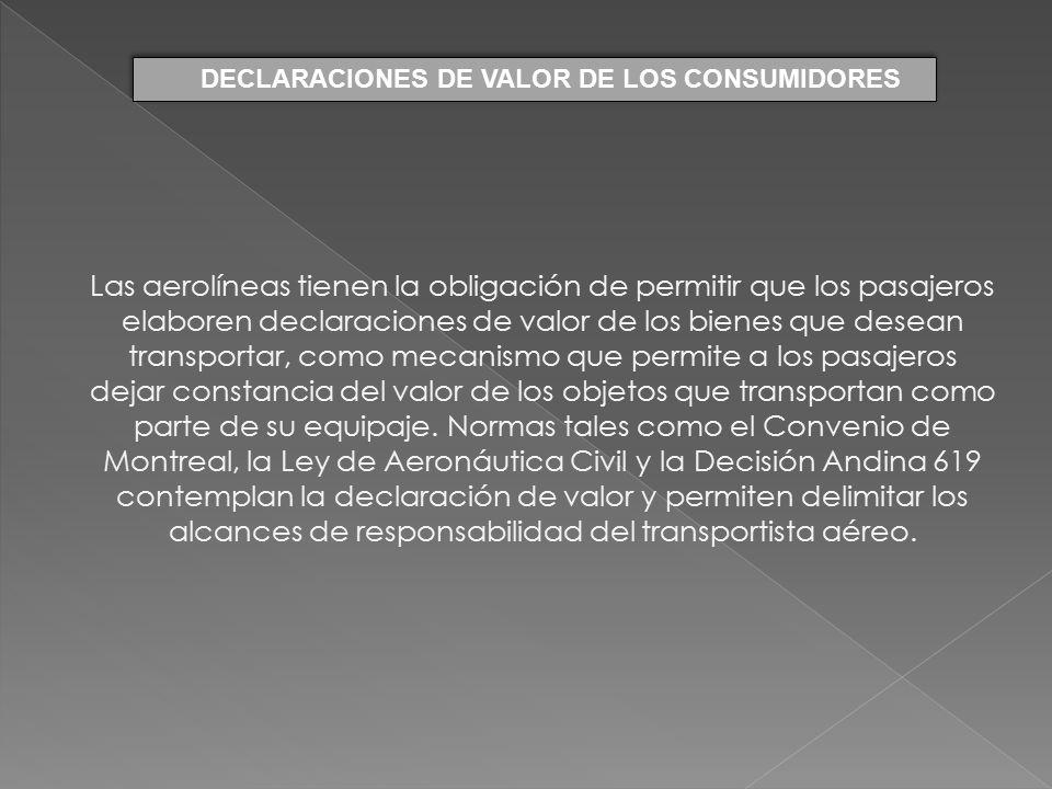 DECLARACIONES DE VALOR DE LOS CONSUMIDORES