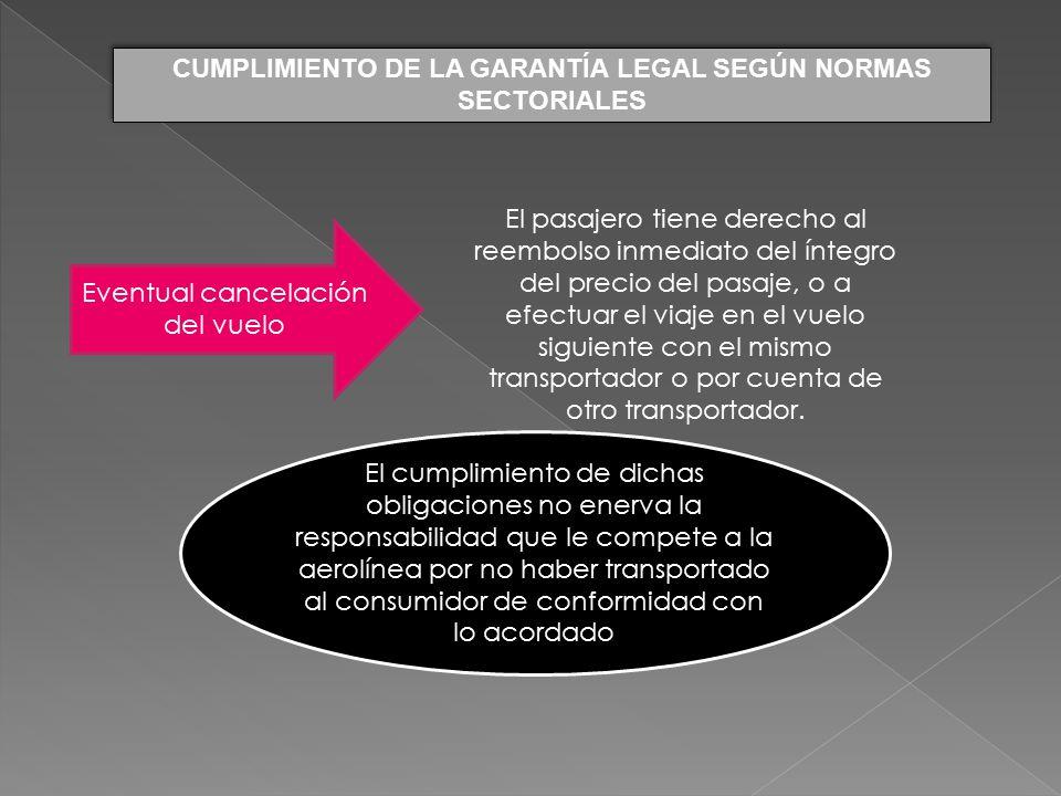 CUMPLIMIENTO DE LA GARANTÍA LEGAL SEGÚN NORMAS SECTORIALES
