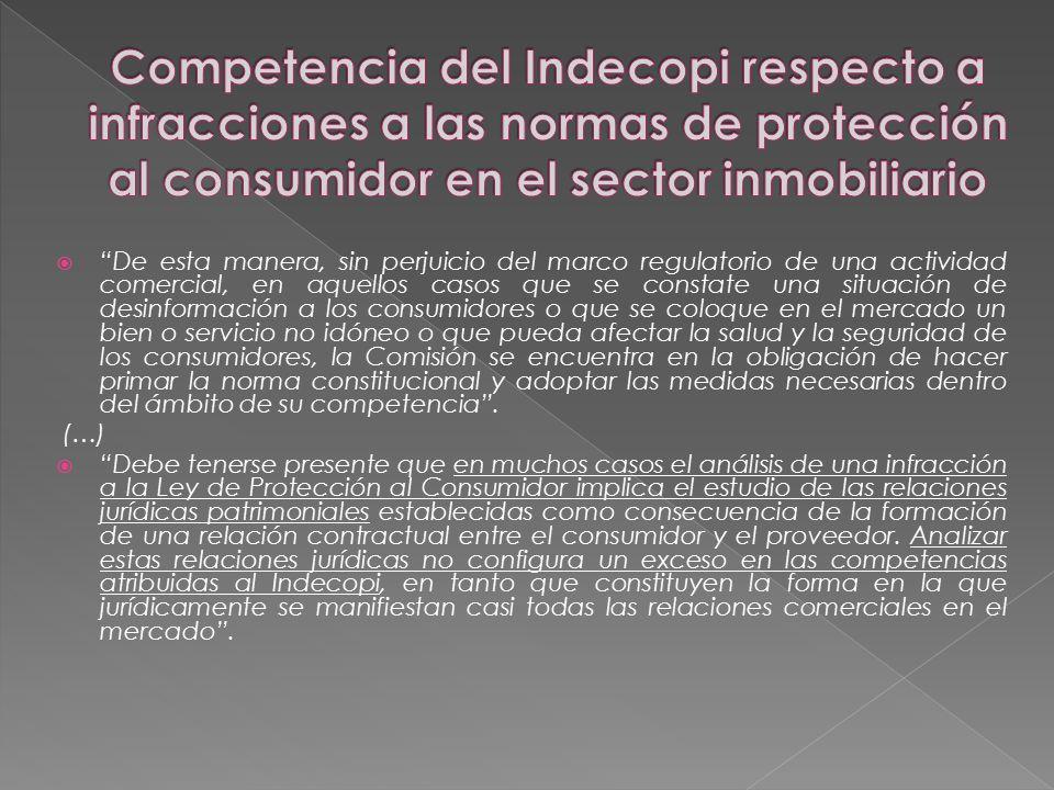 Competencia del Indecopi respecto a infracciones a las normas de protección al consumidor en el sector inmobiliario