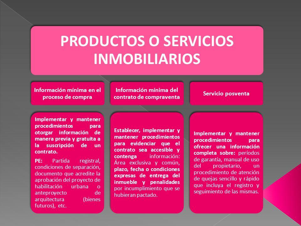 PRODUCTOS O SERVICIOS INMOBILIARIOS