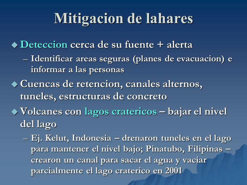 Mitigacion de lahares Deteccion cerca de su fuente + alerta