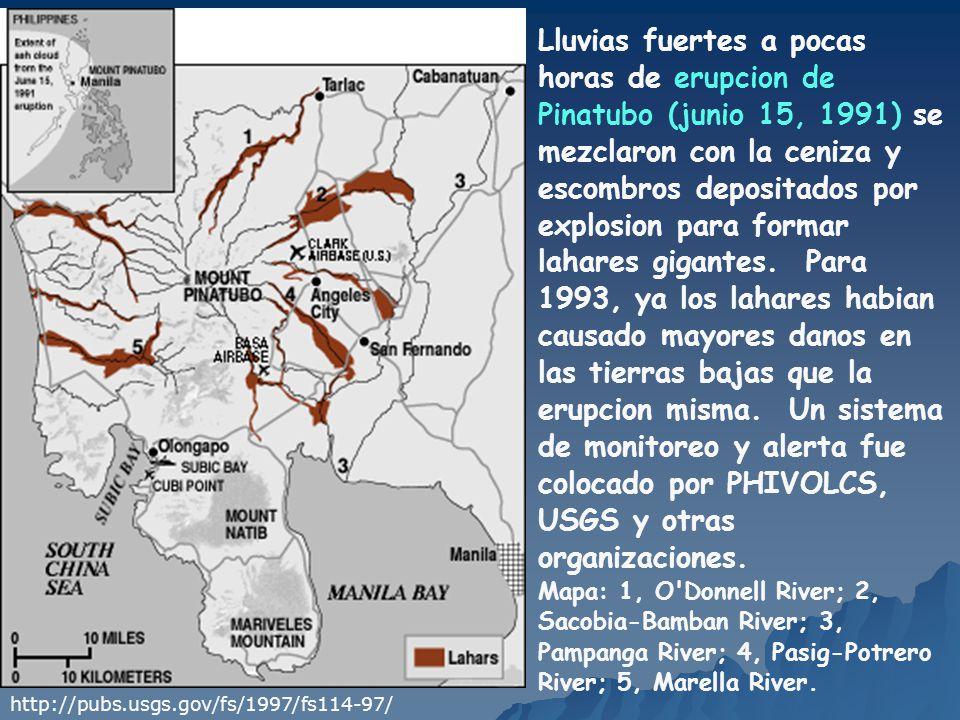 Lluvias fuertes a pocas horas de erupcion de Pinatubo (junio 15, 1991) se mezclaron con la ceniza y escombros depositados por explosion para formar lahares gigantes. Para 1993, ya los lahares habian causado mayores danos en las tierras bajas que la erupcion misma. Un sistema de monitoreo y alerta fue colocado por PHIVOLCS, USGS y otras organizaciones.