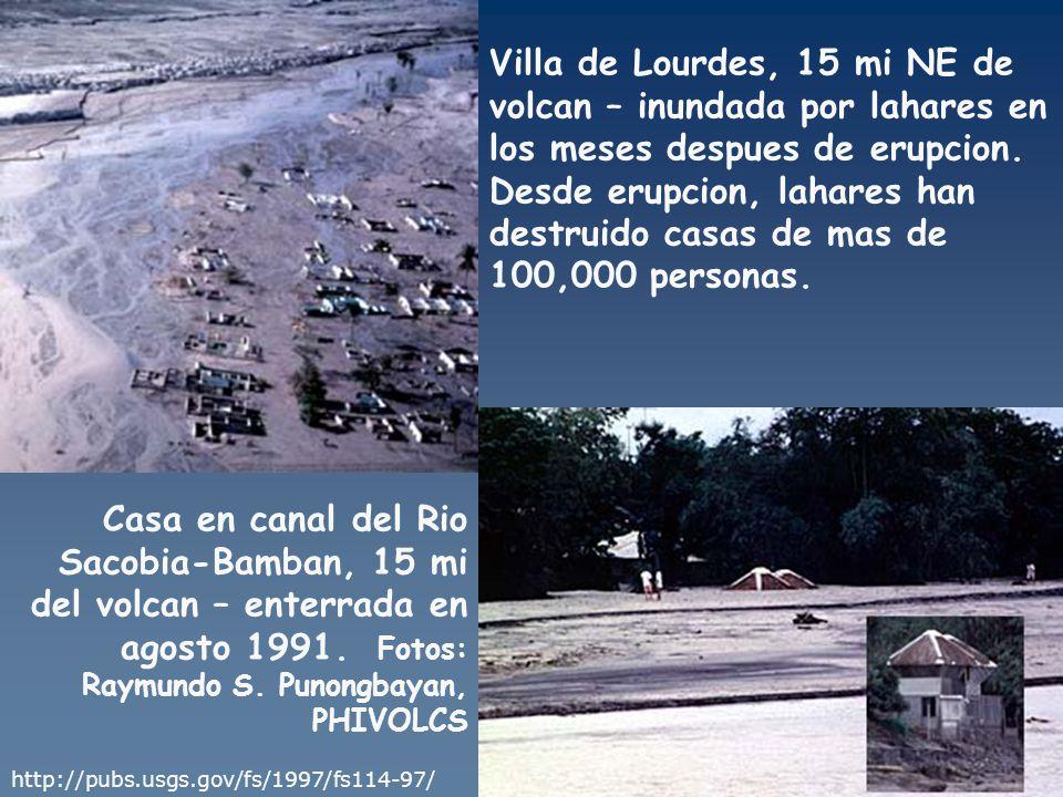 Villa de Lourdes, 15 mi NE de volcan – inundada por lahares en los meses despues de erupcion. Desde erupcion, lahares han destruido casas de mas de 100,000 personas.