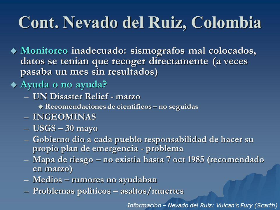 Cont. Nevado del Ruiz, Colombia
