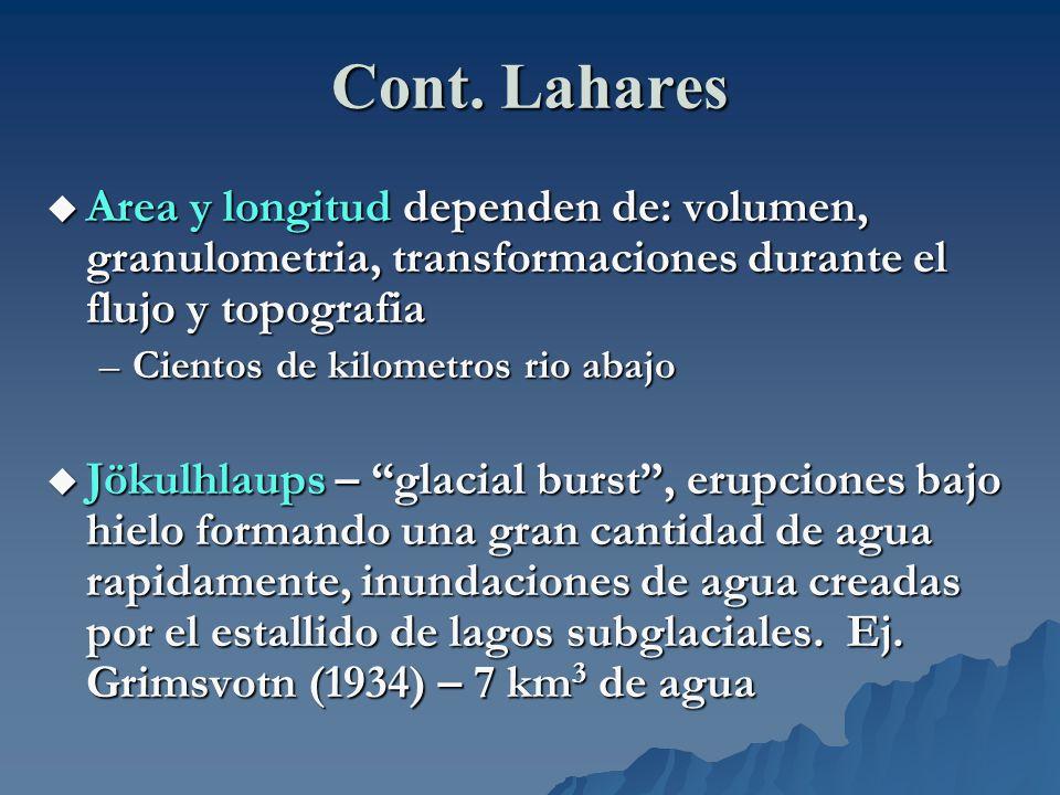 Cont. Lahares Area y longitud dependen de: volumen, granulometria, transformaciones durante el flujo y topografia.