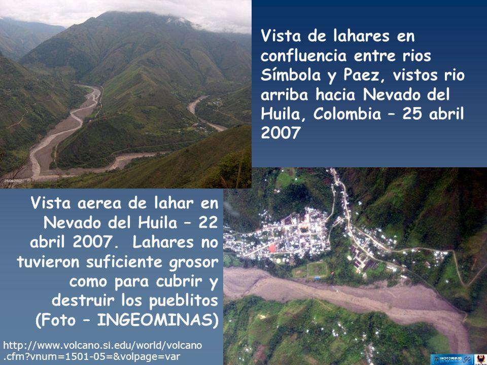 Vista de lahares en confluencia entre rios Símbola y Paez, vistos rio arriba hacia Nevado del Huila, Colombia – 25 abril 2007