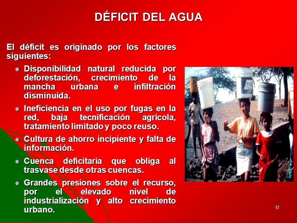 DÉFICIT DEL AGUA El déficit es originado por los factores siguientes: