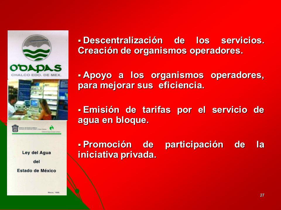 Descentralización de los servicios. Creación de organismos operadores.
