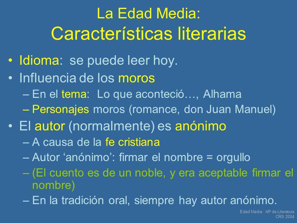 La Edad Media: Características literarias