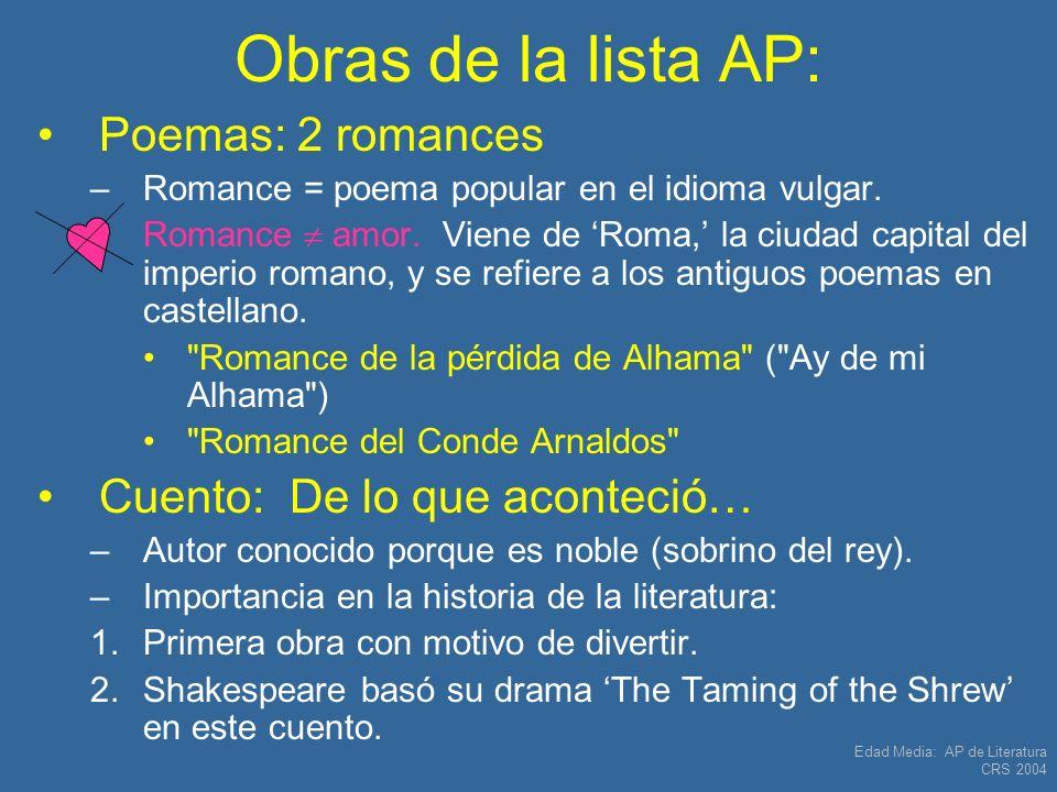 Obras de la lista AP: Poemas: 2 romances Cuento: De lo que aconteció…